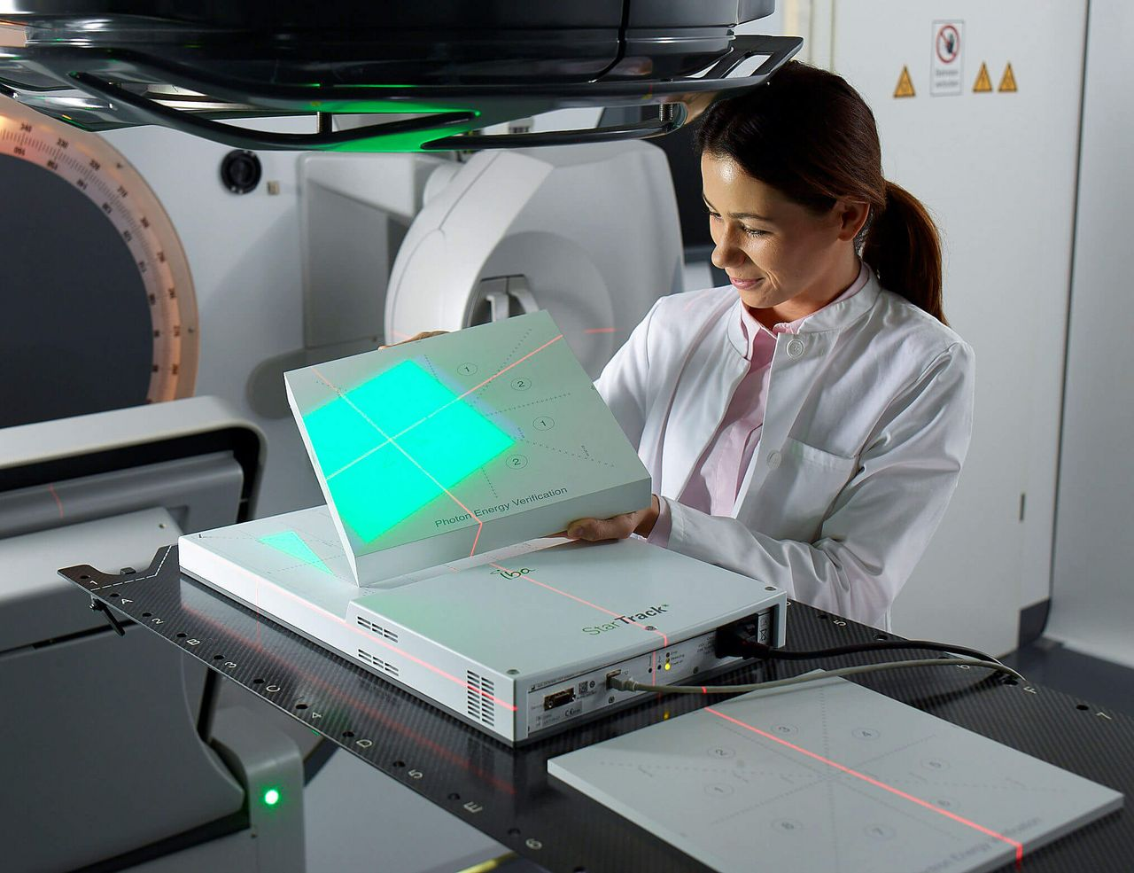 IBA Dosimetry Radiation Product StarTrack Plate Scene Woman
